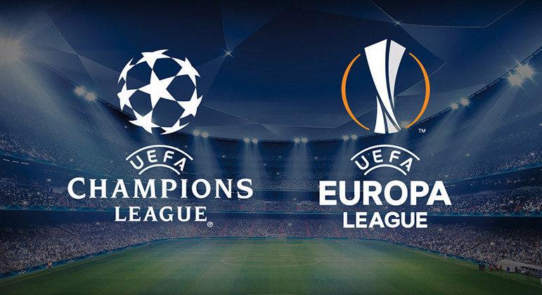 """Os logos da """"Champions"""" e da Europa League"""