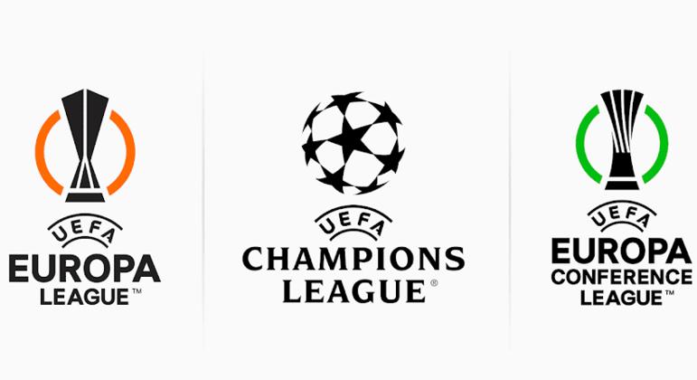 Os logos das três Copas da UEFA