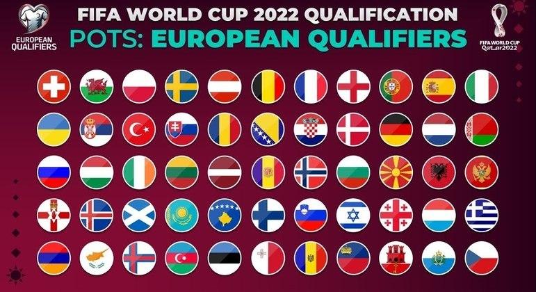 Um poster, com todas as 55 seleções da Europa