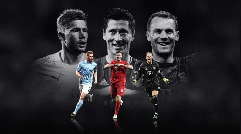 De Bruyne, Lewandowski e Neuer finalistas. O polonês será escolhido