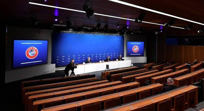 O auditório da sede da FIFA, em Nyon, na Suíça