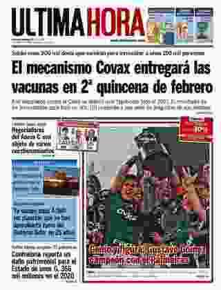 Última Hora - Mais um jornal do Paraguai a colocar o campeão em evidência na capa