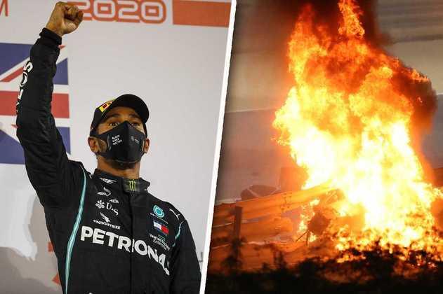 Um dia de vitória fácil de Hamilton e susto de Grosjean no Bahrein. Veja as melhores fotos. (Por GRANDE PRÊMIO)