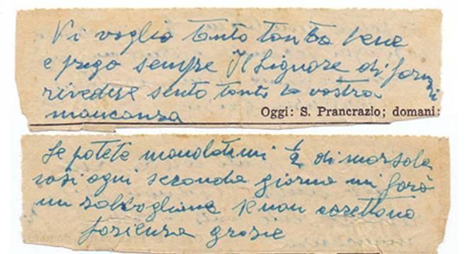 Uma das cartas de Daniele, pedindo uma pequena garrafa de Marsala (tipo de vinho fortificado produzido nos arredores de cidade que lhe dá nome, na Sicília, Itália)