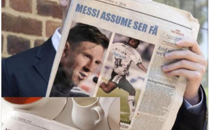 Uma polêmica que deu o que falar foi o post feito por Capetinha com uma montagem, com um jornal onde dizia que Messi assumiu ser seu fã. No post, ele relatava