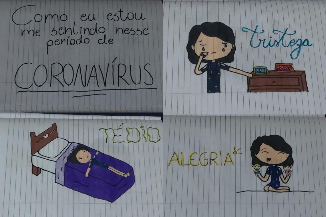 Por meio dos desenhos, crianças contam suas  emoções durante a pandemia