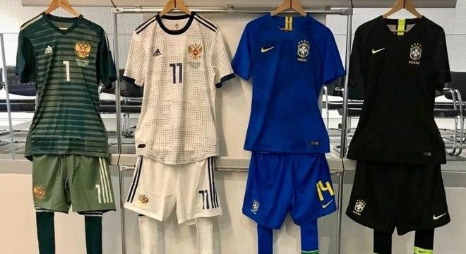 b66e8f84ee Uniformes usados pela seleções brasileira e russa no amistoso da próxima  sexta