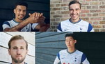 O Tottenham também foi um dos ingleses que fez o lançamento de seu uniforme, nas redes sociais. A camisa principal é na cor branca com desenhos e as cor azul na manda e gola