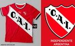 Camisas dos times de futebol inspiradas nos escudos dos clubes: Independiente