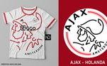 Camisas dos times de futebol inspiradas nos escudos dos clubes: Ajax