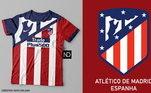 Camisas dos times de futebol inspiradas nos escudos dos clubes: Atlético de Madrid