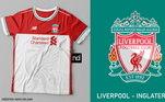 Camisas dos times de futebol inspiradas nos escudos dos clubes: Liverpool