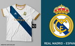 Camisas dos times de futebol inspiradas nos escudos dos clubes: Real Madrid