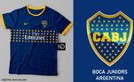 Camisas dos times de futebol inspiradas nos escudos dos clubes: Boca Juniors