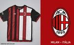 Camisas dos times de futebol inspiradas nos escudos dos clubes: Milan