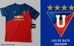 Camisas dos times de futebol inspiradas nos escudos dos clubes: LDU