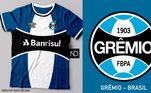 Camisas dos times de futebol inspiradas nos escudos dos clubes: Grêmio