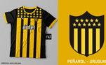Camisas dos times de futebol inspiradas nos escudos dos clubes: Peñarol
