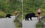 Um urso destemido corre o risco de ser sacrificado depois de dar uma patada na perna de uma corredora
