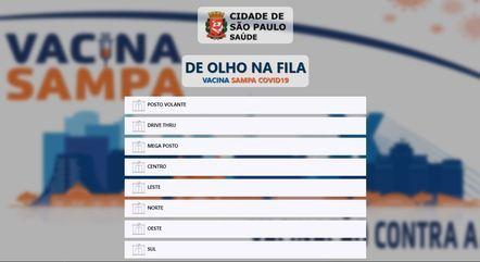 Site permite acompanhar fila de vacinação em São Paulo