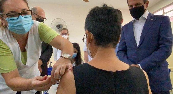 Governador João Doria (PSDB) participa de vacinação em Serrana (SP)