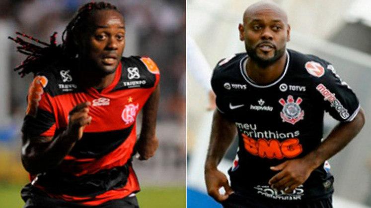 VÁGNER LOVE – Vágner Love teve duas passagens pelo Corinthians e duas pelo Flamengo. No time paulista, conquistou um Campeonato Brasileiro (2015) e um Paulista (2019). Já no Rio de Janeiro não levantou nenhuma taça.