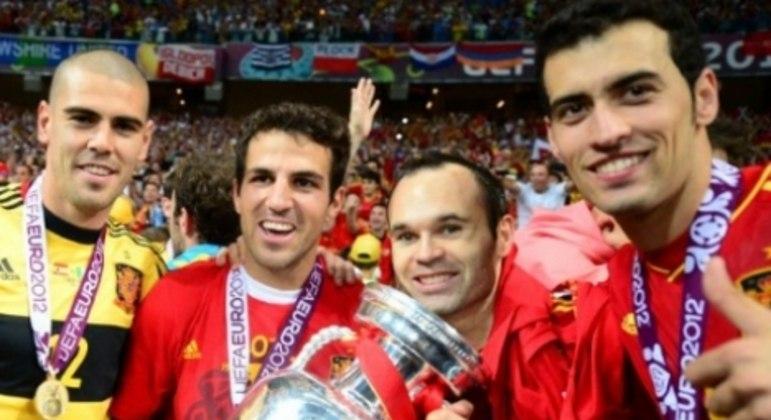 Valdés, Fàbregas, Iniesta e Busquets - Espanha, Eurocopa 2012