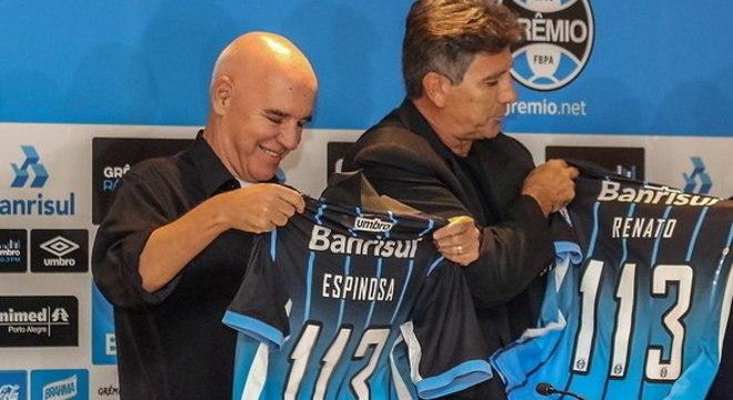 Espinosa e Ranato Gaúcho trabalharam juntos no Grêmio duas vezes