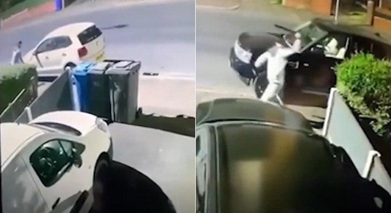 Vândalo com facão destruiu retrovisores de carros em rua de Manchester, na Inglaterra