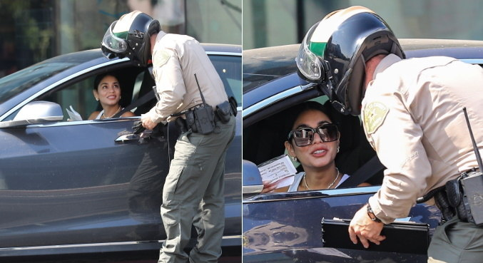 Vanessa Hudgens foi fotografada enquanto levava multa em Los Angeles