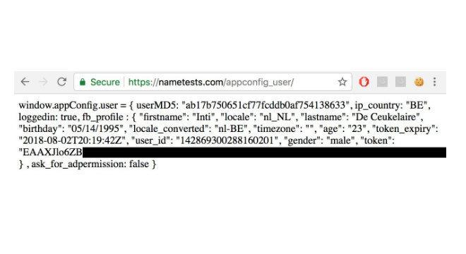 Informações pessoais de Inti De Ceukelaire e código JavaScript