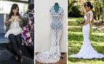 Já imaginou o trabalhão que daria fazer um vestido de noiva todo de crochê?! Pois esta mulher não teve preguiça!