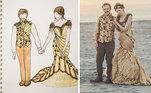 Já esta foi além e fez o traje dela e do noivo. Inspirando-se nos contos de fadas, a noiva também saiu do branco e mergulhou em um tom meio dourado.