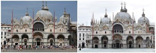 Nesta montagem, é possível ver a Basílica de São Marcos no último mês de agosto e, à direita, o lugar afetado pela enchente no dia 15 de novembro