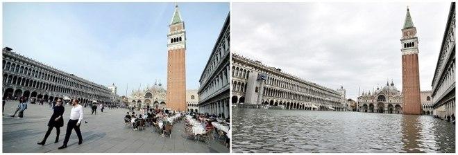 Outro ângulo da praça de São Marcos retratada no mês de abril, à esquerda, e em novembro, à direita