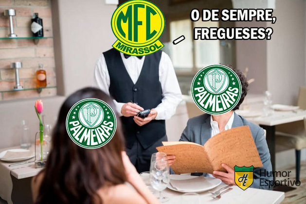 Verdão foi derrotado por 2 a 1 na noite deste domingo e rivais relembraram goleada de 6 a 2 do Mirassol em 2013. Veja os memes na galeria! (Por Humor Esportivo)