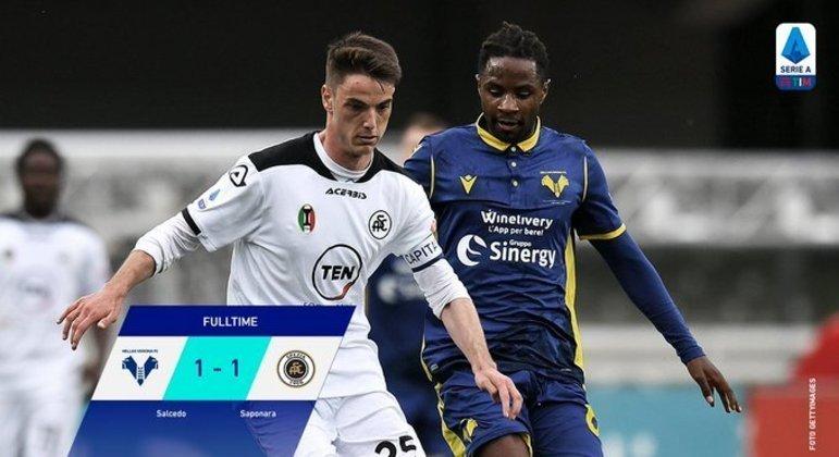 Verona 1 X 1 Spezia, o placar final, no Twitter da Liga da Série A