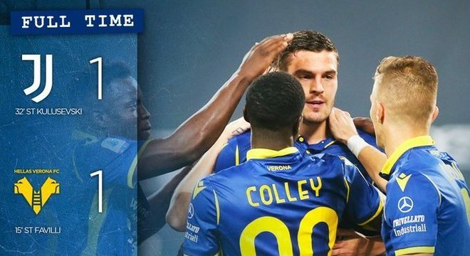 A comemoração do empate no Twitter do Verona