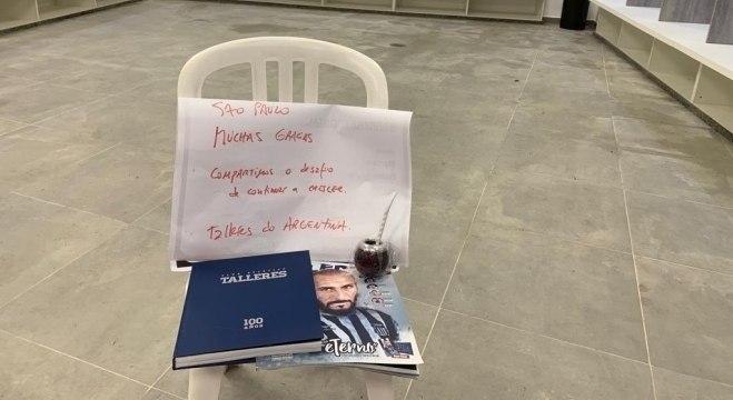 Talleres deixou bilhete de agradecimento e presente para o São Paulo