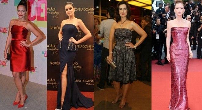 Os vestidos tomara que caia não saem de moda e são a aposta de muitas famosas.