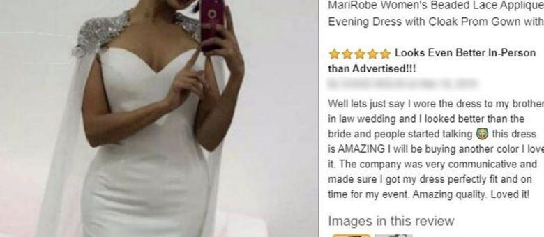 Em resenha de vestido, mulher se gaba de ter ficado melhor que a noiva