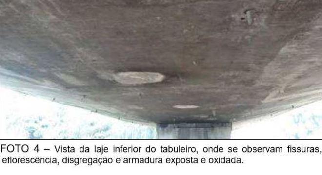 Problemas apresentados no relatório no viaduto Mercúrio, no centro de São Paulo