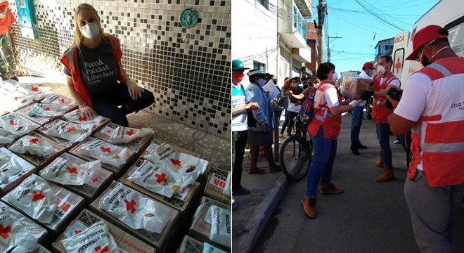 Funcionários ajudam empresa com as doações de cestas básicas