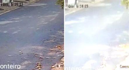 Pelo vídeo de uma câmera de segurança, é possível notar o impacto do tremor