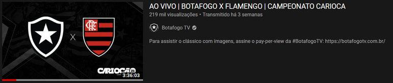 """Vídeo mais visto do mês: """"Ao vivo - Botafogo x Flamengo - Campeonato Carioca"""" / 24 de mar. de 2021"""