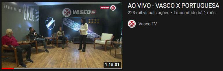 """Vídeo mais visto do mês: """"Ao vivo - Vasco x Portuguesa"""" / 3 de mar. de 2021"""