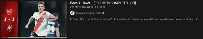 """Vídeo mais visto do mês: """"Boca 1 - River 1 [RESUMEN COMPLETO - HD]""""/ 14 de mar. de 2021"""