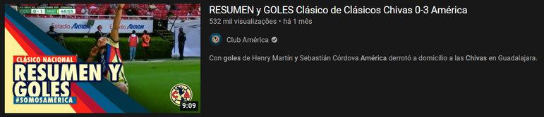 """Vídeo mais visto do mês: """"Resumen y goles Clásico de Clásicos Chivas 0-3 América"""" / 15 de mar. de 2021"""