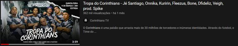 """Vídeo mais visto do mês: """"Tropa do Corinthians - Jé Santiago, Onnika, Kuririn, Fleezus, Bone, Dfideliz, Veigh, prod. Spike"""" / 11 de mar. de 2021"""