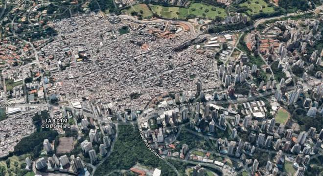 Vista aérea mostra proximidade entre condomínios de luxo e Parasópolis